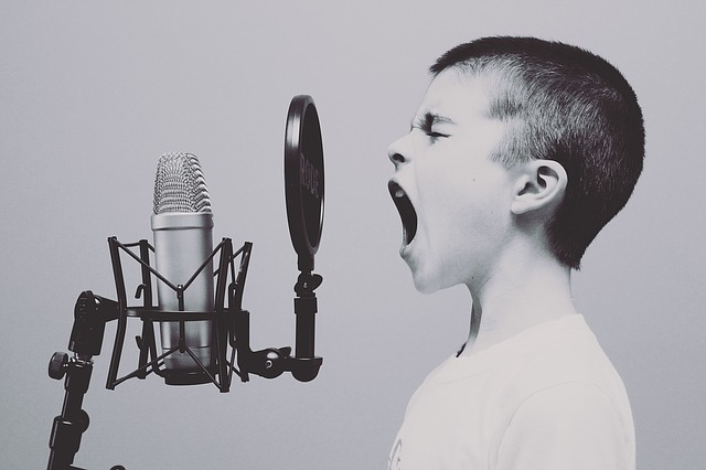 kluk před mikrofonem